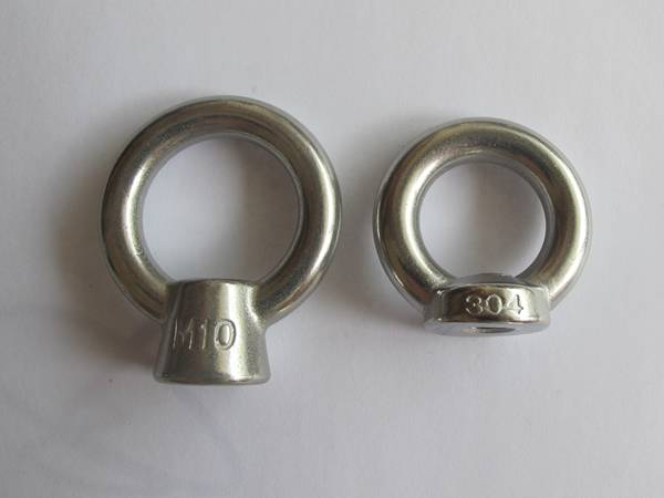 Two stainless steel 304 eye nuts for wire rope.